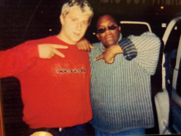 DJ PHAT SAM with legendary UK reggae DJ CHRIS GOLDFINGER back in the day...