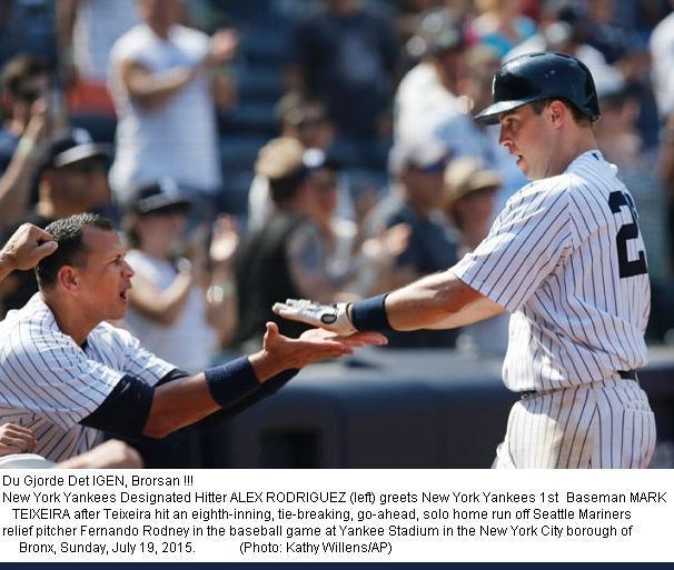 Yankees Hjältarna Jublar vs. Mariners 20150719
