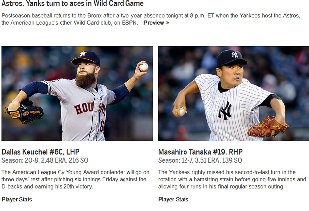 AL Wild Card Game 2015 - Astros @ Yankees