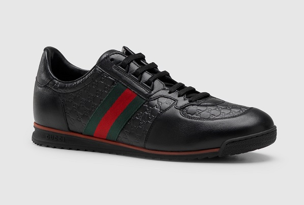GUCCI Lace Up Trainer With Web Detail