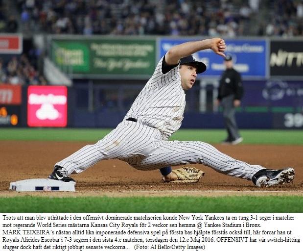 Tex & Yankees beat Royals 7-3 May 12 2016