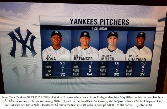 Yankee Pitchers Nova-Betances-Miller-Chapman beat White Sox 20160514