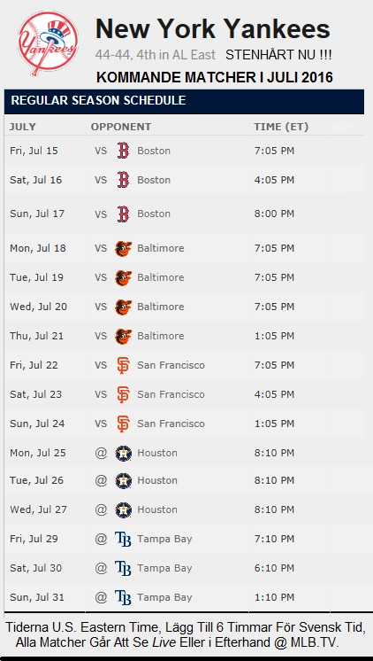 Yankees Schedule July 15 - 31 2016