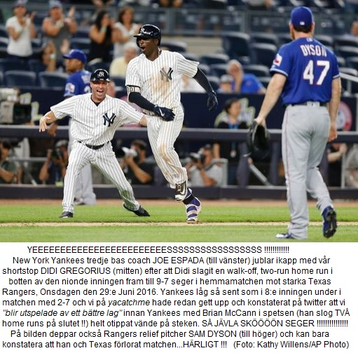 Yankees vander 2-7 till 9-7 vs. Rangers June 29 2016