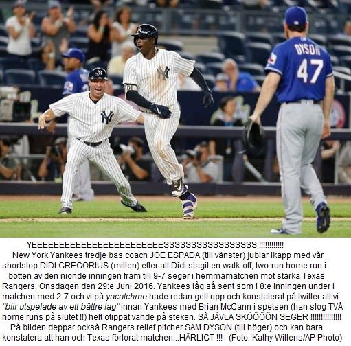Yankees vander 2-7 till 9-7 vs. Rangers June 29 2016