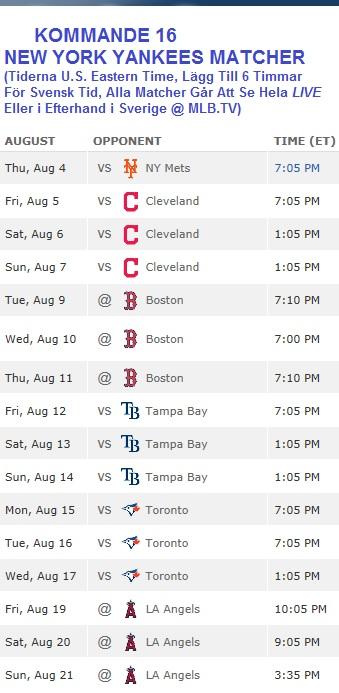 Yankees Kommande Games 4 - 21 Aug 2016